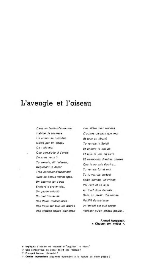 Laveugle Et Loiseau De Ahmed Azzegagh 3bonjour De Sougueur